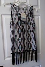 NWT LADIES BLACK WHITE & BLUE LILY STAR BLOUSE w/ FRINGE   SIZE L