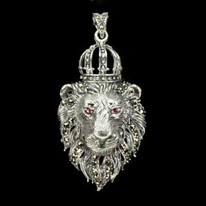 Heated Round Red Ruby 2.5mm Marcasite 925 Sterling Silver Lion Pendant