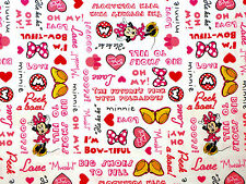 DISNEY MINNIE MOUSE SET WORDS I'M BOWTIFUL COMIC STRIP COTTON FABRIC BY THE YARD