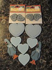 DARICE WOOD CUTOUTS 2 DUCKS 4  HEART WOOD PAINTED 2 CERAMIC ,2 PC WOOD HEART.