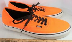 Vans Off The Wall Authentic Canvas Skater Shoes Orange Waffle Sole Men's 10.5