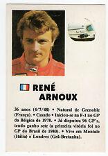 1985 portugués De Bolsillo Calendario F1 francés Ferrari Equipo conductor Rene Arnoux