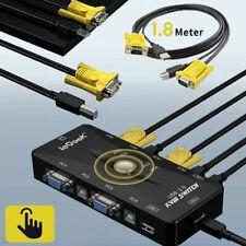 More details for 4 port usb 2.0 kvm switch box + 4 kvm cables keyboard monitor vga svga pc laptop