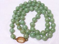 VINTAGE CHINESE GREEN JADE 9.5mm BEAD NECKLACE, SILVER CLASP, 69 GRAMS