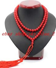Natural 8MM Red Ruby Round Gemstone Buddhist Prayer Beads Necklace AAA