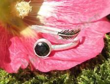 Anillo Onyx Piedra des capricornio PLATA DE LEY 925 con plumas