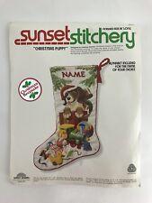 "Sunset Crewel Stitchery ""CHRISTMAS PUPPY""2022 18"" Stocking KIT Complete"