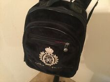 JUICY COUTURE Black Velvet/velour Book Bag Backpack  Womens