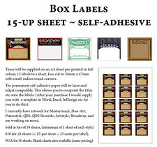 Pianola Box Labels - 10 sheets (x15 to view)