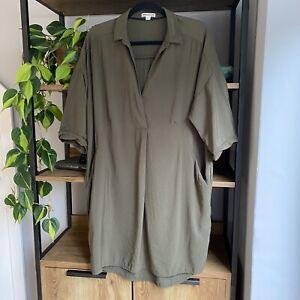Whistles Size 14 Khaki Green Lola Shirt Tunic Dress Pockets Worn Once!
