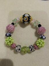 Beaded Stretch Bracelet Lilah Ann Beads Czech Lampwork Crystals Bali