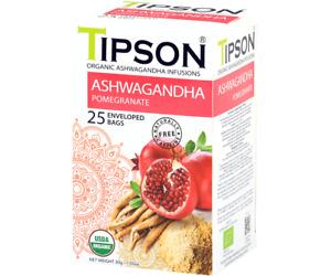 TIPSON ORGANIC ASHWAGANDHA  100% CEYLON HERBAL TEA IN 25 TEA BAGS 30g net