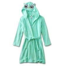 NEW Girls Bath Robe Size 4/5 Owl Hood/Ears Mint Pajama Fleece Critter XS X-small