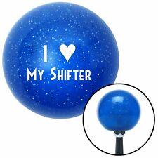 White I <3 MY SHIFTER Blue Metal Flake Shift Knob street rod accessory parts 911