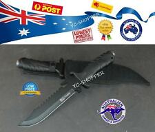 Hunting Knife Razor Sharp Huge Camping Bowie Black Military SS Steel Pig Sticker