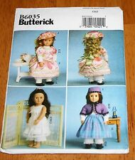 BUTTERICK  Pattern #6035 Doll clothes 18IN New 4 Outfits 1800's Petticoats More