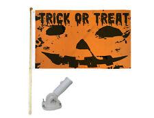 New listing 5' Wood Flag Pole Kit W/ Nylon White Bracket 3x5 Trick Or Treat Orange Poly Flag