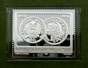 Argentina 2000 Pesos stamp 1981 MNH with Silver issue + FDC - Patacón (T70)