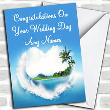 Palm Tree Love Beach Romantic Personalised Wedding Day Card
