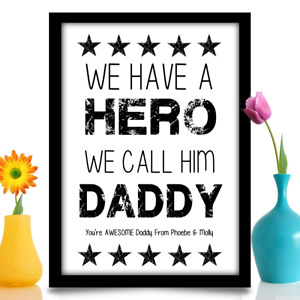 Birthday gift for Daddy Personalised HERO present idea A4 gloss print