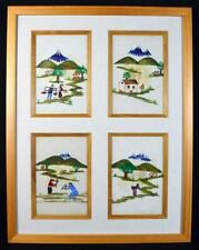 More details for unusual japanese paintings x4