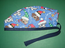 Surgical Scrub Hats caps Christmas Blue glittery with cute puppies in Hats
