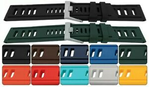 ISO Style Divers Silicone Strap 20mm 22mm 24mm Sizes + Colours