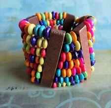 Women African Ethnic Tribal Colorful 7 Strand Multi-Color Bracelet