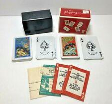 Vintage KEM Panther Plastic Playing Cards Bakelite Case & Box - 2 Complete Decks