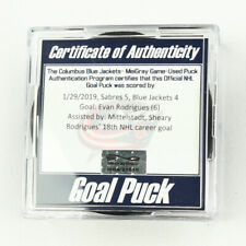 2018-19 Evan Rodrigues Buffalo Sabres Game-Used Goal-Scored Puck -Mittelstadt A.