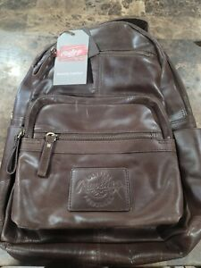 NWT Rawlings Genuine Leather Medium Backpack RS10057-BRN