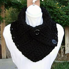 Solid Black NECK WARMER SCARF Handmade Crochet Knit Large Buttoned Cowl, Buttons