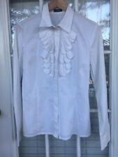 NWOT OLTRE Women's Ruffle White Blouse Made Italy Size 10 Eur 44