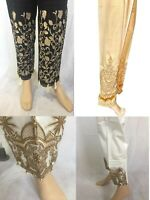 Ladies Trousers Pakistani Indian Capri Pencil Pants Net Lace Embroidery Shalwar