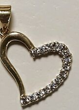 Vintage Prouds 9K Yellow Gold Heart Pendant 14 Clear White Stones ? Not Scrap