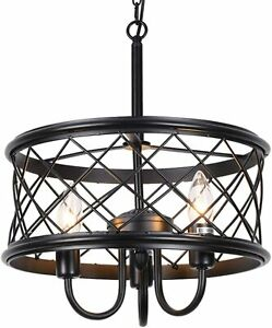 HMVPL 3-Lights Hanging Chandelier Farmhouse Swag Island or Industrial Pendant