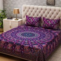 Queen Size Indian Rajasthani Ghoomar Style Bed Sheet Cover With 2 Pillow Case