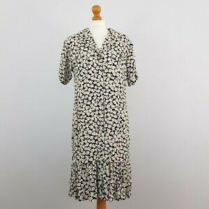 Louis Feraud Womens Black & White Floral Short Sleeve Button Vintage Dress UK 12