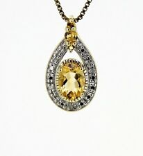 Wonderful, Decorative Pendant 925er Silver Gold Plated, Citrine Small Diamond
