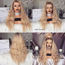 Women Blonde Long Wavy Wig Curly Natural Hair Full Wigs Cosplay UK