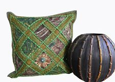 "New Indian Handmade Ethnic Zari Work 16X16"" Cotton Square Sofa Cushion Cover Art"