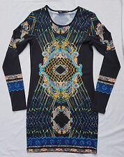 AS NEW Sportsgirl Size XS Bodycon Longsleeve Dress Print Deco Black Event Party