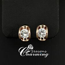 Designed 18K Gold Plated 0.5 Carat Cubic Zirconia CZ Stone Stud Earrings
