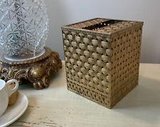 Vtg Brass Hollywood Regency Tissue Box Holder Woven Design Pattern Home Decor