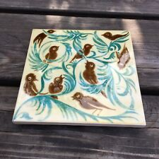 Vintage Bird Design V&A Decorative Trivet Tile Works Ironbridge Gorge Museum