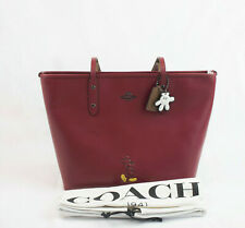 NWT COACH Mickey Disney X Red Leather City Tote Bag 56645