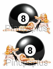 Bomber Art Pin-up Girl with 8 Ball Waterslide Decals For Smooth surfaces #252