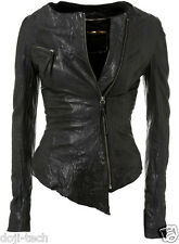 Kate Moss Iconic Soft Lambs Leather Fitted Zip Vtg Topshop Biker Jacket 12 40 M
