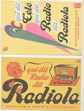 LOT DE 2 BUVARDS RADIO TELEVISION RADIOLA RADIOLINETTE RENE RAVO TSF