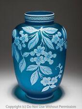 Fine Thomas Webb Cameo Florero De Cristal En Azul-Antiguo Siglo Xix Stourbridge